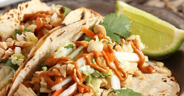 Thai Chicken Tacos with Spicy Peanut Sauce | Recipe | Weekly meal ...