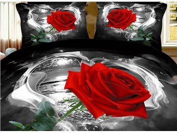3d Red Rose In Heart Shape Printed Cotton 4 Piece Black Bedding Sets Rose Bedding Red Bedding Sets Cotton Bedding Sets