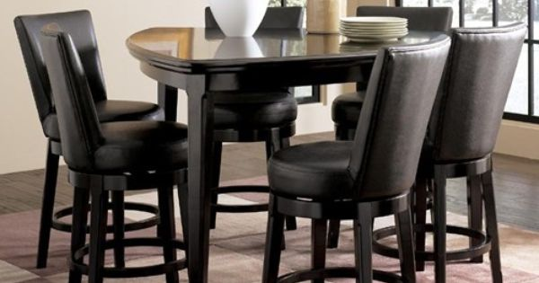 Ashley millennium emory 7 piece triangle pub table set with 6