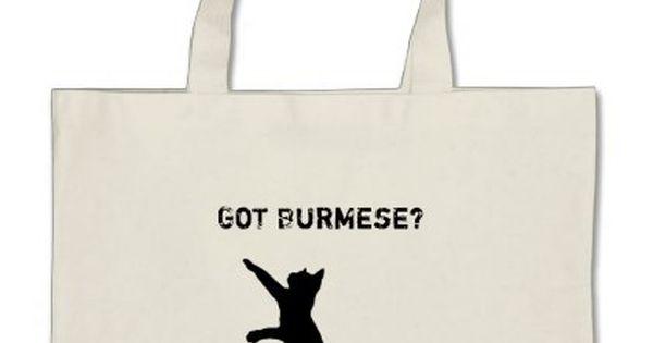 Playful Burmese Cat With Got Burmese Text Large Tote Bag Zazzle Com Burmese Cat Large Tote Bag Tote Bag