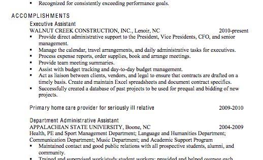 Chronological Sample Resume Executive Administrative