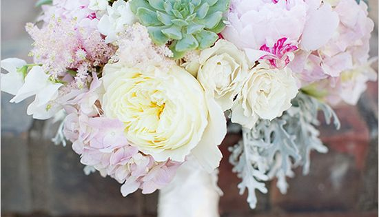 @Karen Kong succulent and peony wedding bouquet. I like the soft antique
