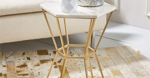 Marble gold hexagonal side table new arrivals living for Concepto de marmol
