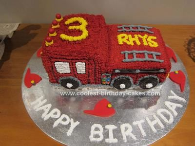 Outstanding Coolest Fire Engine 3Rd Birthday Cake With Images 3Rd Birthday Personalised Birthday Cards Beptaeletsinfo