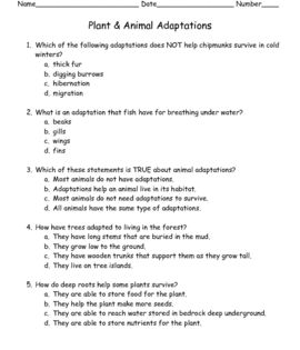 This Quiz Contains 10 Multiple Choice Questions Over Plant And Animal Adaptations An Answer Key Is Also Inc Animal Adaptations Plant Science School Study Tips