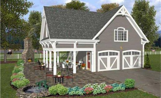 This set of garage plans has a lovely covered porch that is perfect for spending a relaxing - Summer house plans delight relaxation ...