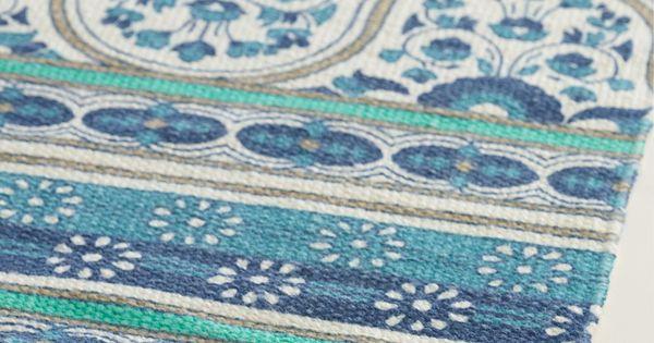2 39 X3 39 Blue Floral Reversible Indoor Outdoor Rug Indoor