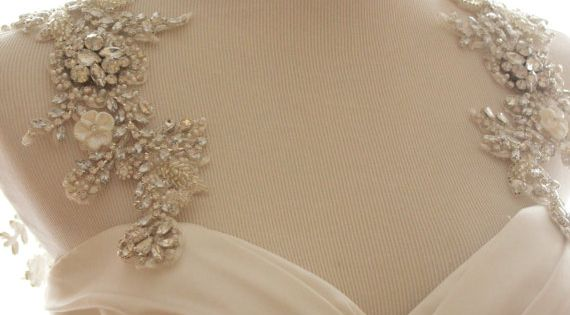 Oh the sparkle hand beaded statement bridal straps to for Add sparkle to wedding dress