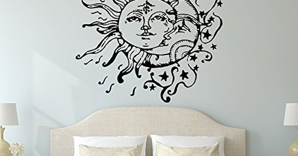 Sun And Moon Wall Decal Sun Moon And Stars Wall Decals Ethnic Decor Bedroom Dorm Wall Decal