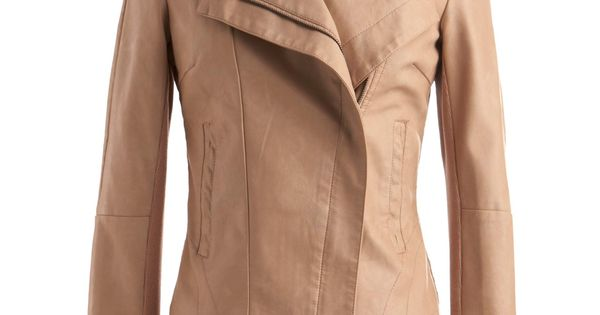 Tan faux leather jacket ModCloth