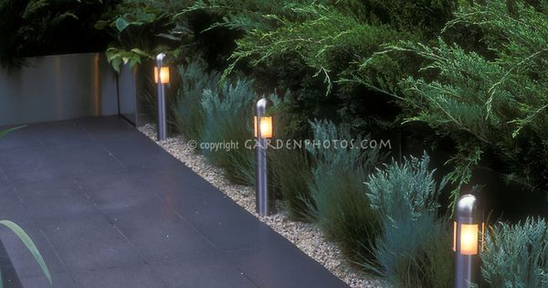 Built In Step Lights And Short Pole Lighting To Illuminate Garden Path In  Evening   Courtyard Design   Pinterest   Gardens, Lighting And Path Lights
