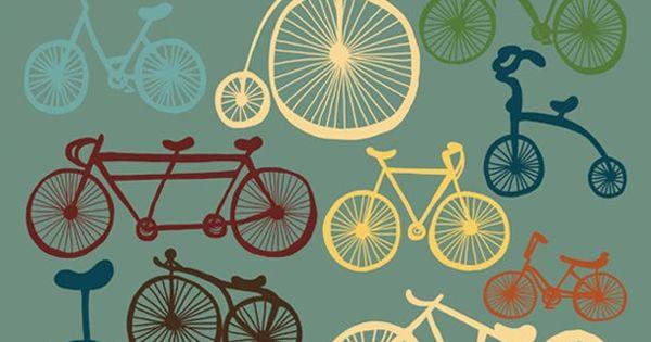 Bicycle Art, Digital Print, Blue Wall Decor, Digital Illustration, Modern Art Bike
