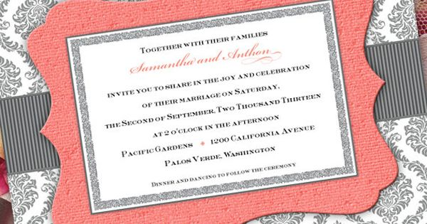 silver and coral wedding 2 invitations