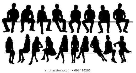 Vector Isolated Set Of Silhouettes Of Seated People Collection Of Silhouettes Silhouette People Person Silhouette Silhouette Architecture