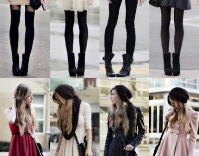 Winter Outfits. Skirts and dresses with black tights/ leggings with booties, plus
