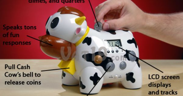 Cash Cow Electronic Talking Piggy Bank And Game Piggy Bank Coin Games Cow