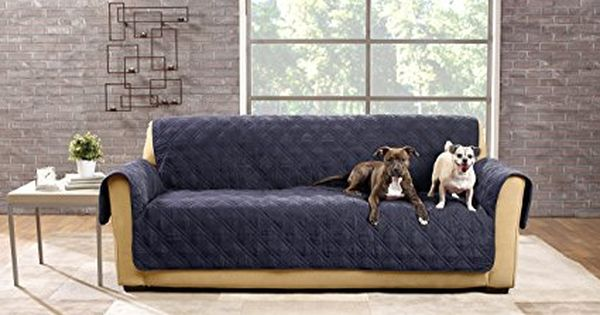 Sure Fit Sf44832 Deluxe Non Skid Waterproof Pet Sofa Furniture Cover Storm Blue Pet Furniture Covers Furniture Covers Pet Sofa Cover