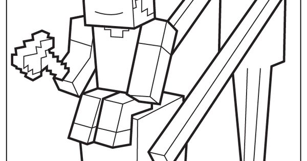 Enderman Holds Block With Steve On Top Coloring Page