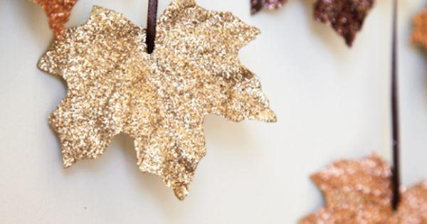 glitter leaf DIY fall decor wedding