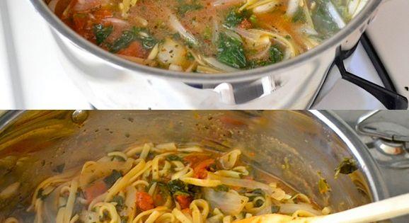 #ItalianWonderpot: 4 cups vegetable broth 2 Tbsp olive oil 12 oz. fettuccine