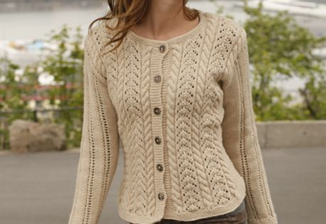 Free Knitting Patterns Lace Jacket : Free pattern: Knitted DROPS jacket with cables and lace pattern in ?Lima?. Si...