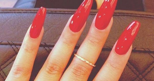 Red Squoval Acrylic Nails | Nails 2 | Pinterest | Squoval ...