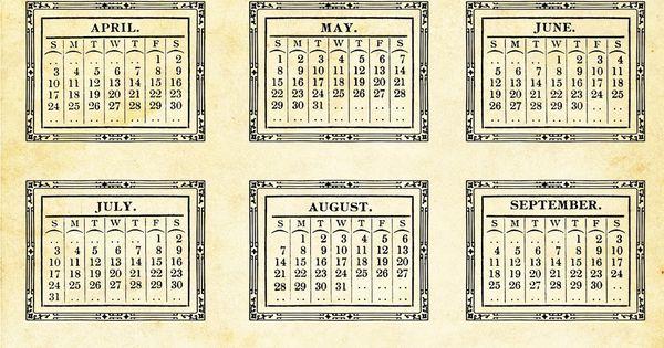 Calendar Sizes Ideas : See new free printable vintage calendars plus