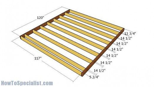 Building The Floor Frame Howtobuildashed In 2020 10x10 Shed Plans Shed Plans Wood Shed Plans