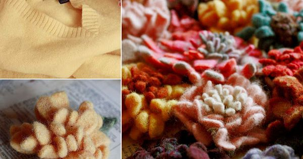 Making Wool Sweater Felt Flowers in the Washing Machine; tutorial here by