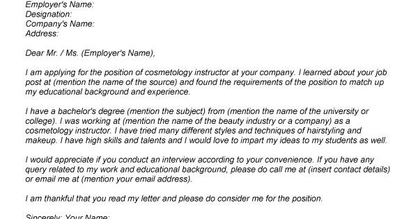 Cosmetology Cover Letter Sample We Provide As Reference To