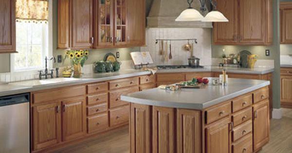 gray walls oak cabinets | light blue/grey with oak cabinets