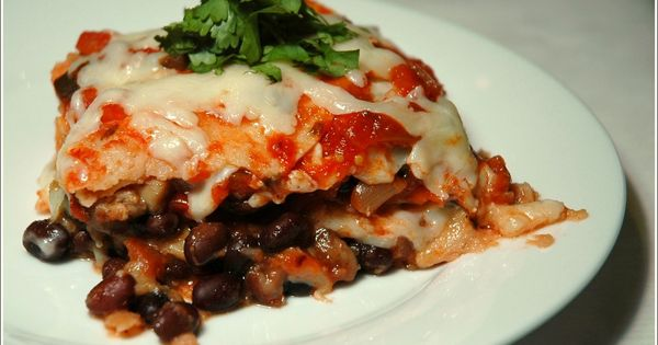 Mushroom and black bean tortilla casserole. Made this tonight and it ...