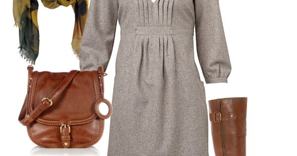 nice fall outfit. love the dress neckline.