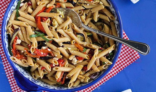 red pepper farro salad warm pasta salad roasted eggplant bell pepper ...