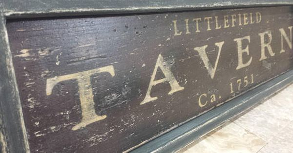 Rustic Tavern Wood Sign Antique Style As Shown Distressed Brown With Gold Letters And A Black Frame Can Be Customize Wood Signs Antique Style Antique Signs