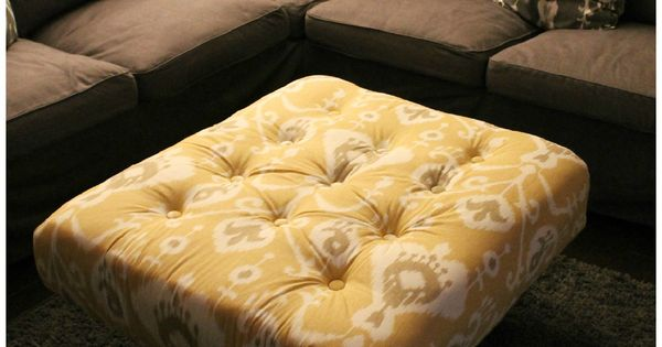 DIY Tufted Ikat Ottoman from Upcycled Pallet with Tutorial - DIY Ottoman