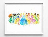 Princess Watercolor Painting Canvas Art Print Poster Wall Decor