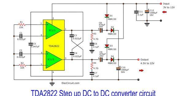 Step Up Converter Circuit Using Tda2822 Eleccircuit Com Power Supply Circuit Circuit Converter