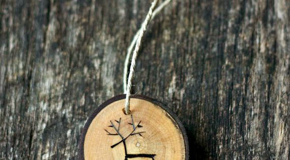 Reindeer Ornament - Tree Branch Wood Slice - Rustic and Eco Friendly
