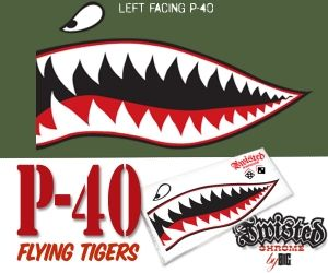 Flying Tiger P 40 Sticker Decal 3 Color Graphic Left Facing