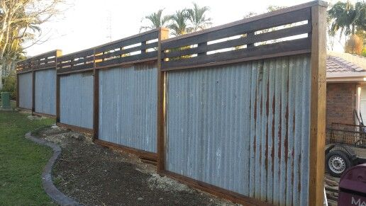 Recycled Hardwood Timber Fence Rusty Corrugated Iron