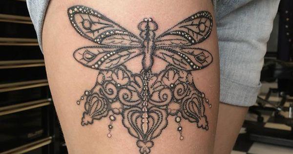 dotwork dragonfly and lace tattoo done by natasha papadakos tattoo pinterest natasha o. Black Bedroom Furniture Sets. Home Design Ideas
