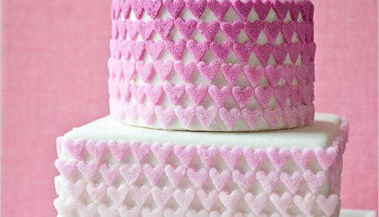 Sugar hearts wedding cake