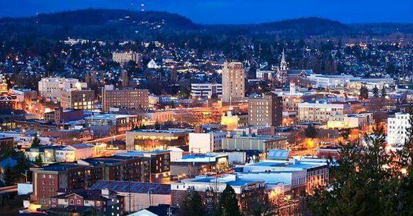 The City Of Bellingham At Night Bellingham Washington Bellingham Washington