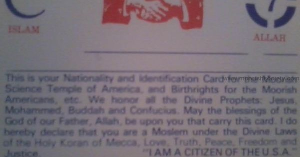 This is the Nationality Card for members of the Moorish ...