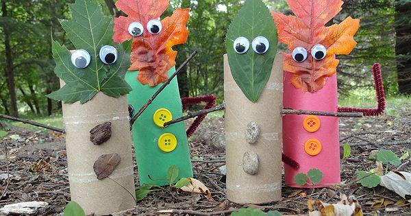 Supplies for Leaf People Craft Finger Puppets: ●Natural: *cardboard tubes *pebbles or
