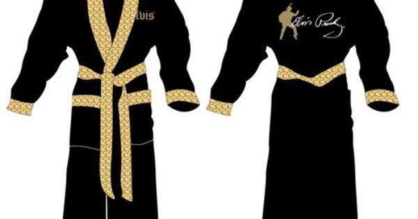 elvis presley black    gold embroidered bath robe new gift