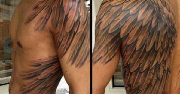man with angel wings tattooed tattoo tattooed tattoos. Black Bedroom Furniture Sets. Home Design Ideas