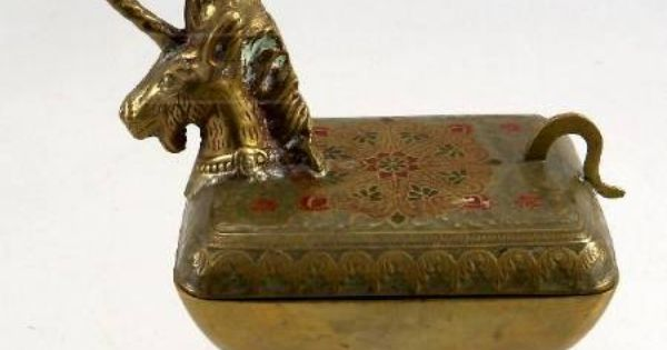 Antique Footed Brass Unicorn Trinket Box Thrifty Finds