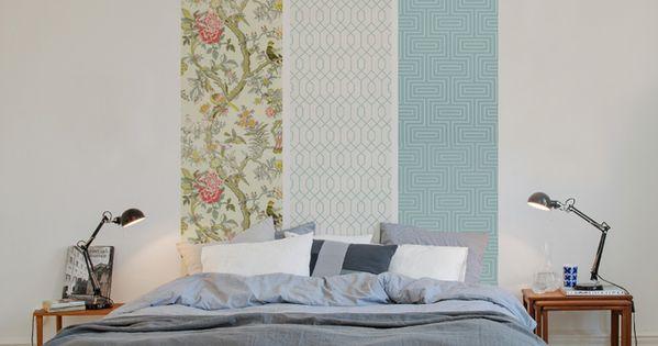 Tete de lit papier peint mix and match un seul pan de mur avec plusieurs l s - Fabriquer tete de lit papier peint ...